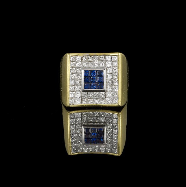 Men's 18 Kt. Gold, Diamond and Sapphire Ring