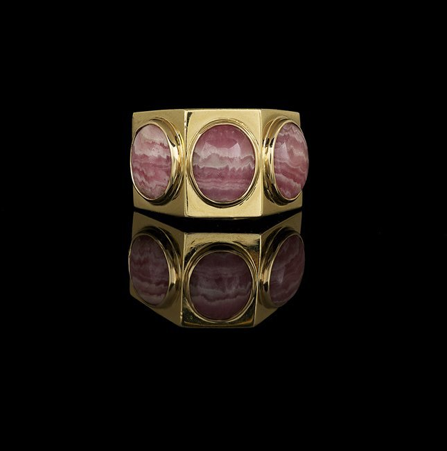 Men's 18 Kt. Yellow Gold and Rhodochrosite Ring