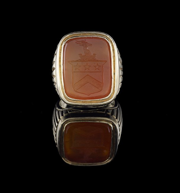 Men's 14 Kt. Gold and Carnelian Intaglio Ring