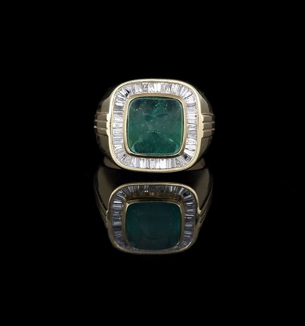 Men's 18 Kt. Gold, Emerald and Diamond Ring