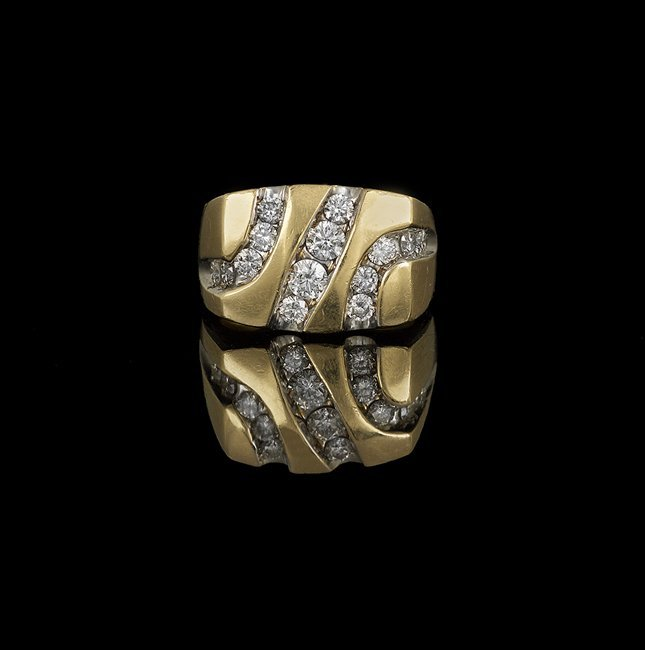 Gentleman's 14 Kt. Yellow Gold and Diamond Ring