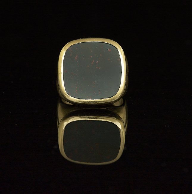 Men's 18 Kt. Yellow Gold and Bloodstone Ring