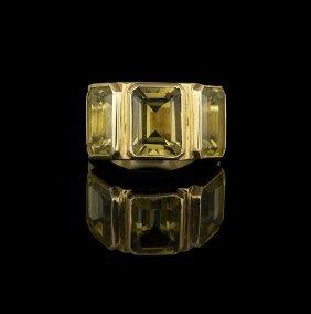 Men's 18 Kt. Yellow Gold and Lemon Quartz Ring