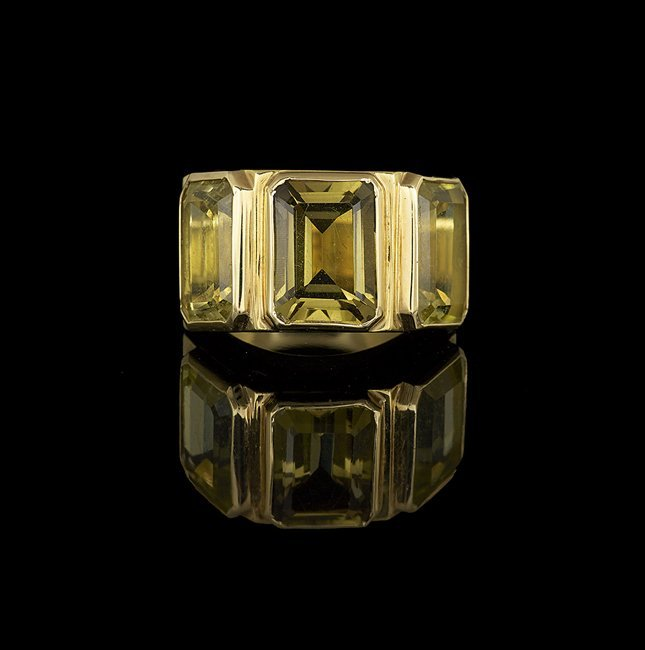 Men's 18 Kt. Yellow Gold and Lemon Quartz Ring