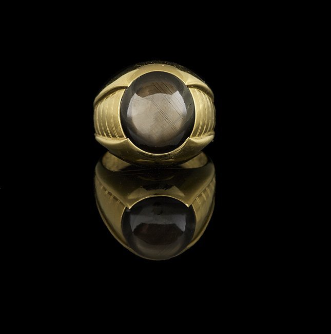 Men's 18 Kt. Yellow Gold and Black Sapphire Ring
