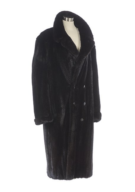 Men's Chocolate Brown Double-Breasted Mink Coat