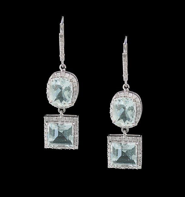 Pair of Silver, Aquamarine and Diamond Earrings