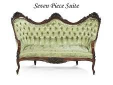 American Rococo Revival Seven-Piece Parlor Suite