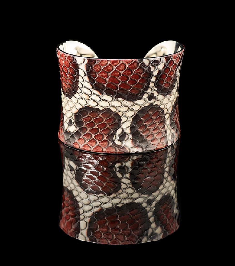 Silver-Plated and Snakeskin Cuff Bracelet