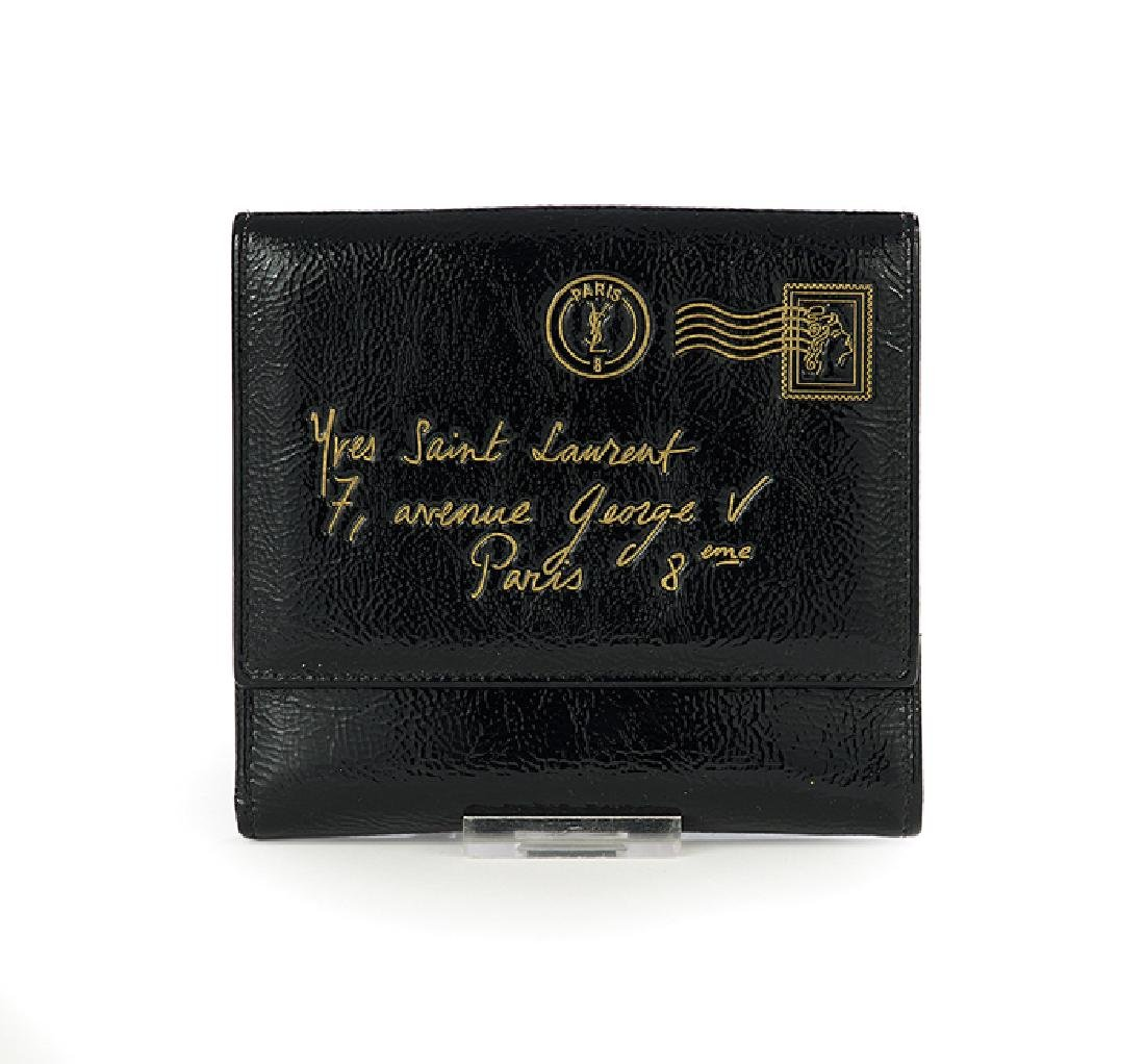 "Yves Saint Laurent Patent Leather ""Y Mail"" Wallet"
