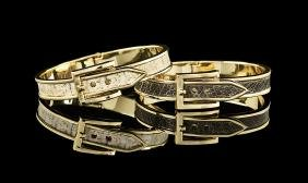 Two Silver-Gilt Snake- and Ostrich Skin Bracelets