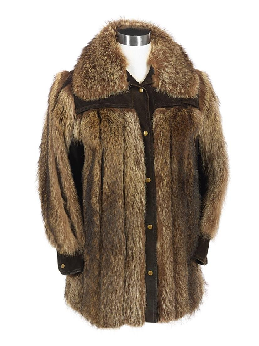 Raccoon and Chocolate Brown Buckskin Jacket