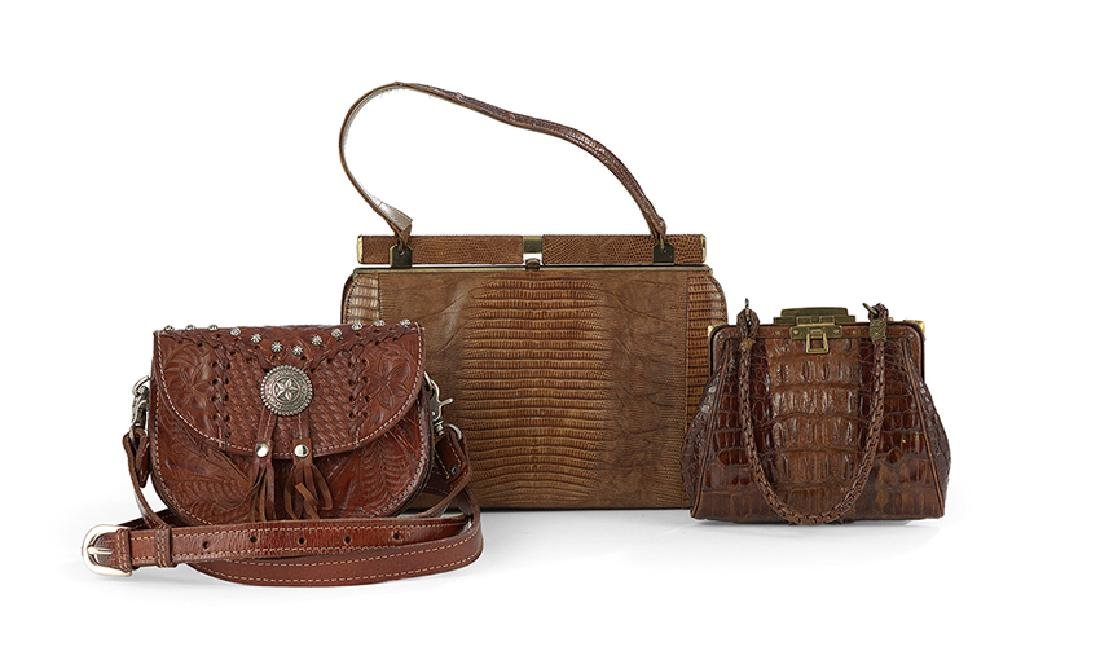 Collection of Three Cognac Handbags