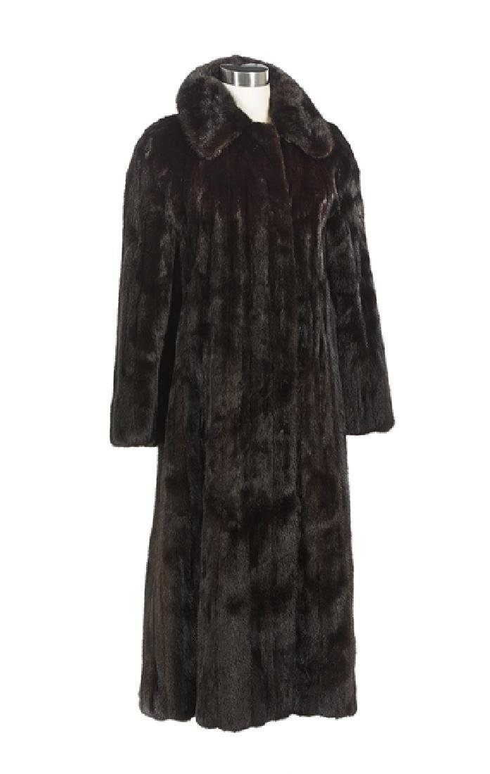 Dark Chocolate Brown Mink Full-Length Coat