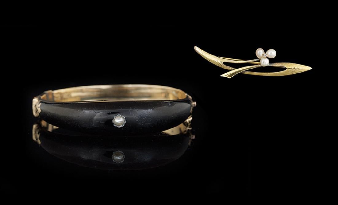 14 Kt. Gold and Pearl Bracelet and Brooch