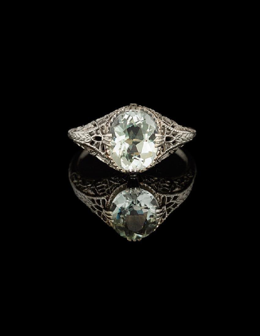 14 Kt. Gold and Aquamarine Ring