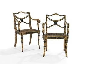 Pair of Regency-Style Ebonized Armchairs