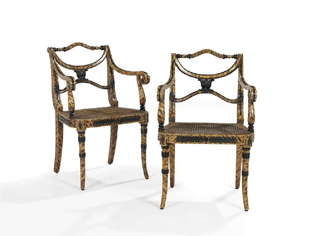 Pair of Regency-Style Ebonized Armchairs