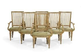 Six Louis XVI-Style Polychromed Armchairs