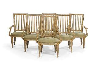 Six Louis XVI-Style Polychromed Armchairs