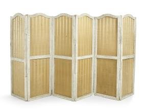 Swedish Polychromed Six-Panel Folding Screen