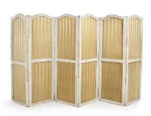 Swedish Polychromed Six-Panel Folding Screen