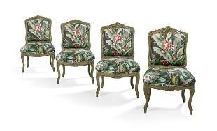 Four Louis XV-Style Polychrome Sidechairs