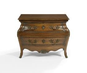 French Provincial-Style Walnut Bombe Commode