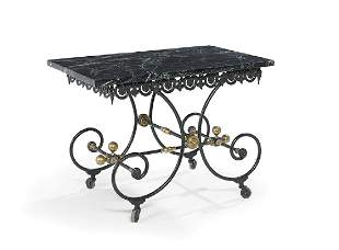 Victorian-Style Marble-Top Conservatory Table
