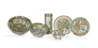 Six Pieces of Rose CantonMedallion Porcelain