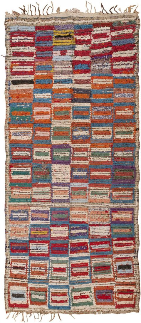 "Vintage Moroccan carpet , Size 3'10"" x 8'8"""
