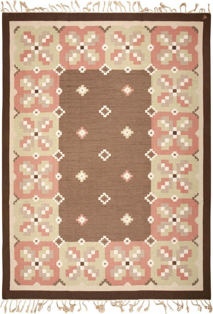 "Vintage Swedish Kilim Carpet , Size 9'9"" x 13'4"""