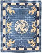 """Antique Dragon Chinese Art Deco rug , size 12'x 15'4"""" ("""