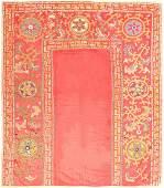"Antique Uzbekistan Suzani Textile , size 6'3"" x 7'2"""