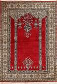 "Vintage Persian Silk Qum , Size 3'6"" x 5'3""( 1.07 M x 1"