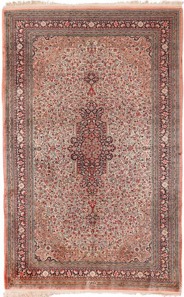 "Vintage Persian silk Qum , Size 4'7"" x 7'3"""