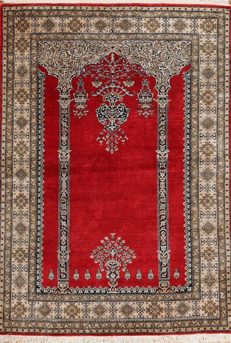 "Vintage Persian Silk Qum prayer design , size 3'6"" x 5'"