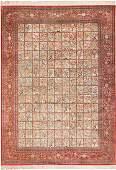"Large Vintage Persian Silk Qum Rug, Size 10' X 14'2"""