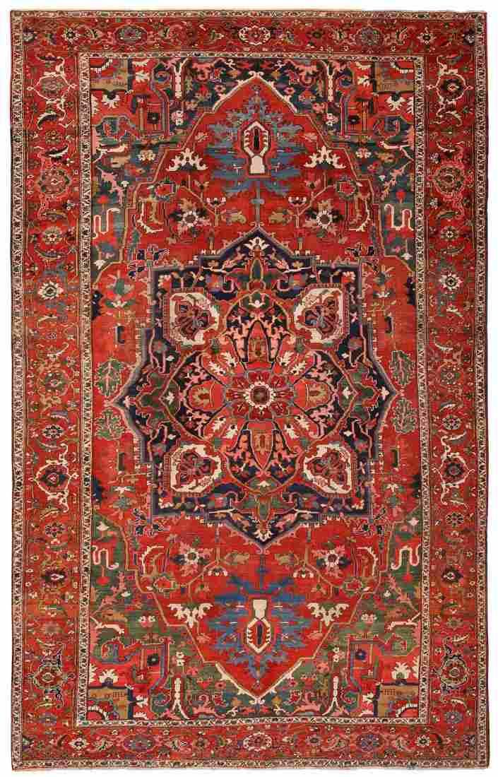 Antique Persian Heriz carpet, 9 ft 4 in x 15 ft 3 in