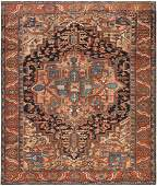 Antique Persian Heriz carpet  9 ft x 11 ft 2 in