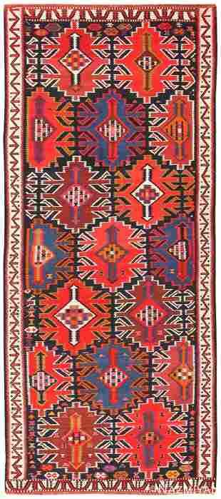 Antique Caucasian Kuba kilim Azerbaijan 5.07 x 12.09