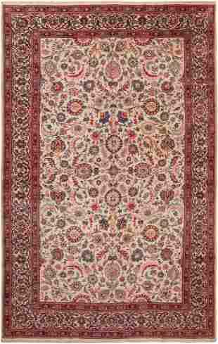 VINTAGE PERSIAN FLORAL KASHAN CARPET 8 ft 4 in x 13 ft