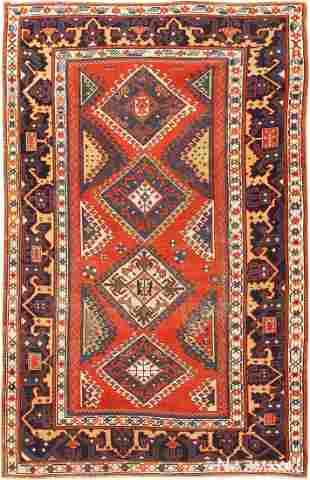 ANTIQUE CAUCASIAN KAZAK RUG , 4 ft 8 in x 7 ft 5 in