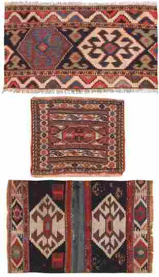 Set of 2 Shahsavan Kilims Panels & Persian Bagface