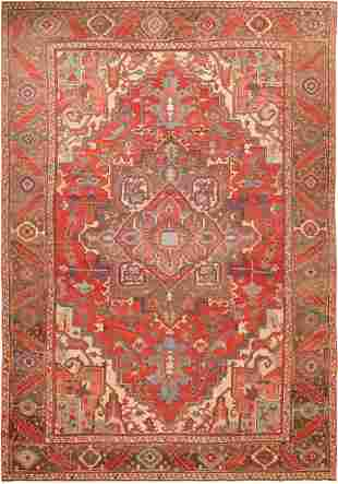 ANTIQUE PERSIAN SERAPI RUG , 10 ft x 13 ft 7 in