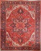 ANTIQUE PERSIAN HERIZ CARPET  11 ft 1 in x 14 ft 6 in