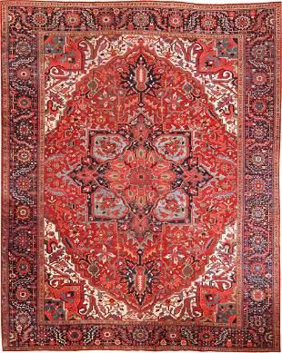ANTIQUE PERSIAN HERIZ CARPET , 11 ft 1 in x 14 ft 6 in