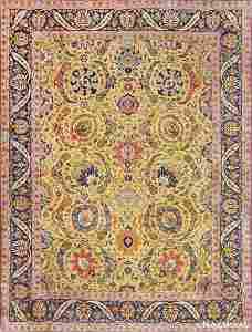 ANTIQUE PERSIAN SICKLE LEAF TABRIZ RUG 9 ft x 12 ft