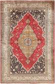 Vintage Persian Silk Qum rug  4 ft 8 in x 7 ft 3 in