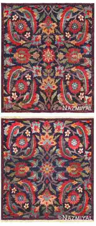 PAIR OF ANTIQUE PERSIAN KERMAN MATS 2.05 x 2.09 each